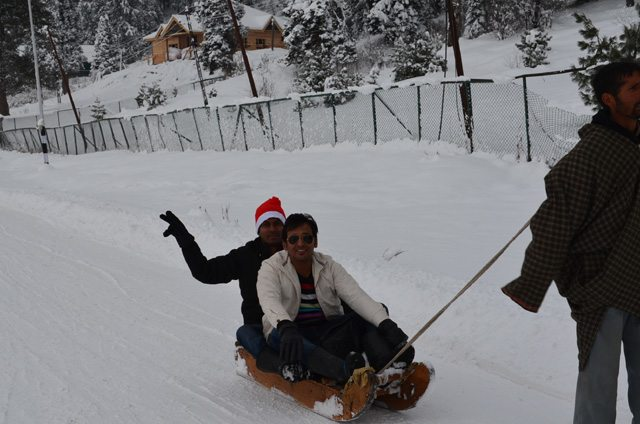 Gourav and I enjoying the Sledge cart