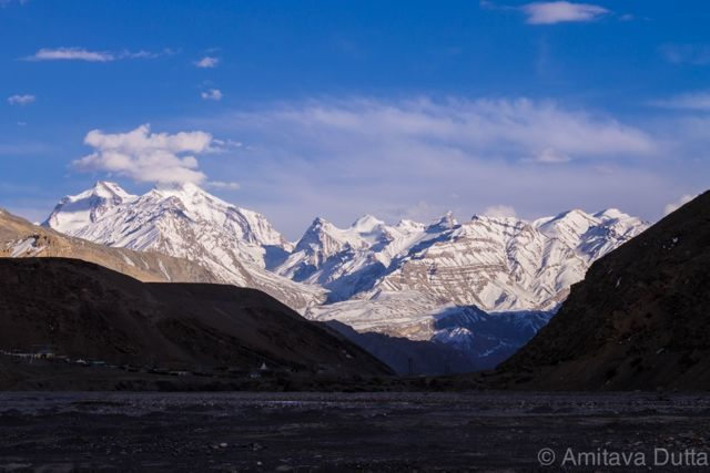 Spiti valley on the setting sun