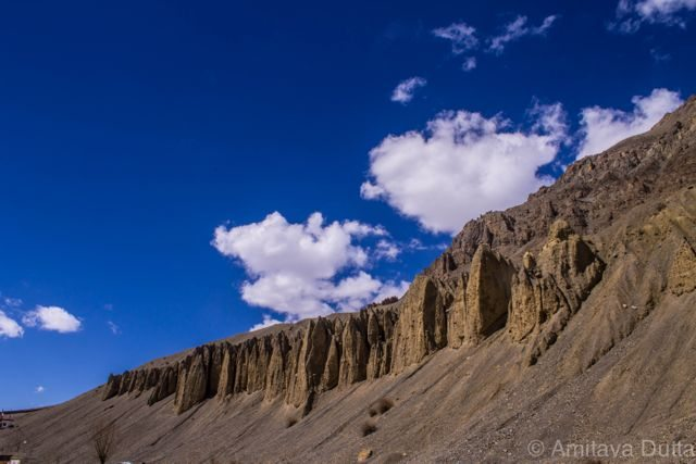 Cold desert Mountains on the backdrop of pristine sky