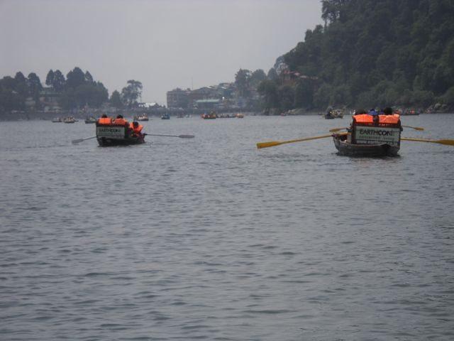 Enjoying boating in Nainital