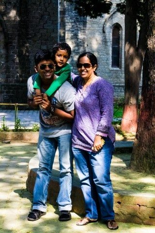 With wife and son