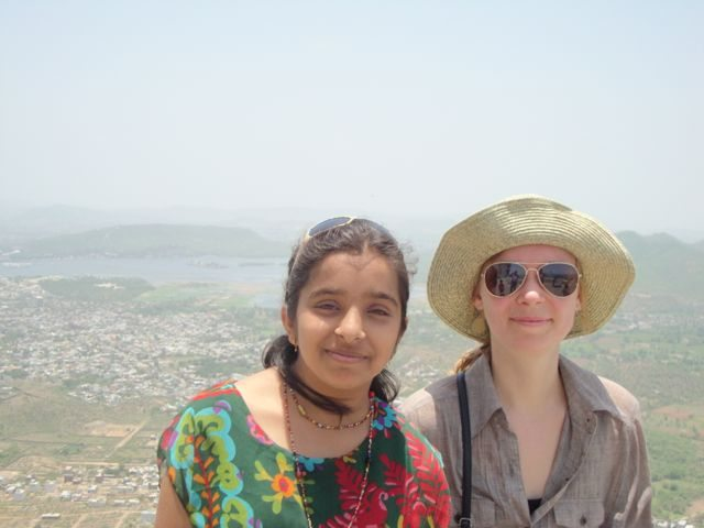 Daughter with fellow tourist