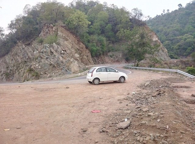 The car posing at a corner
