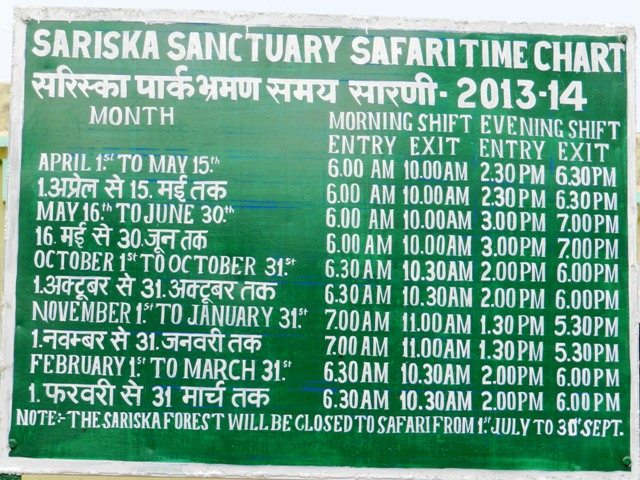 Sariska Time Table