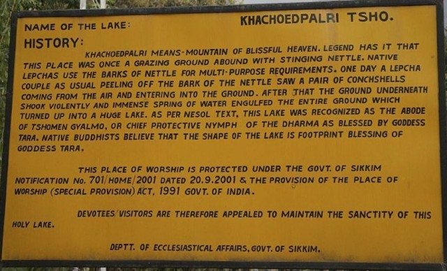 Sign Board of the Lake History