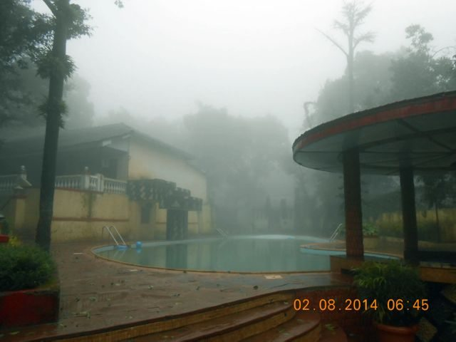 Fog over the swimming pool