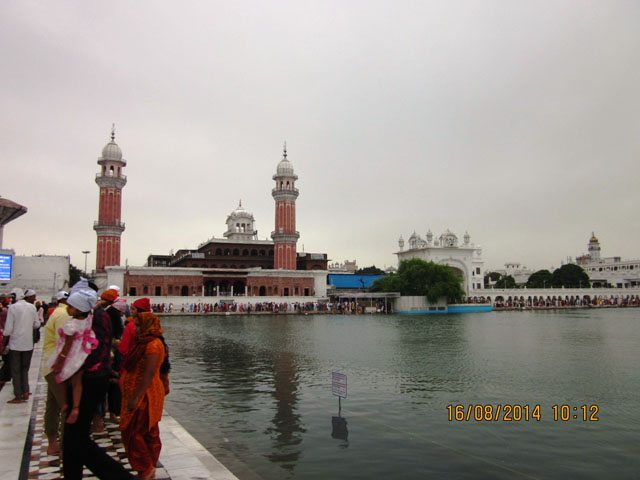 Minars on the left side of Golden temple