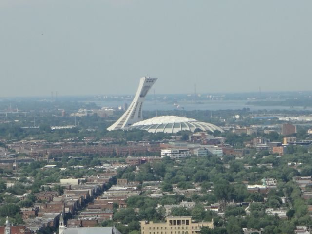 Montreal Olympic stadium View from Mount Royal Park