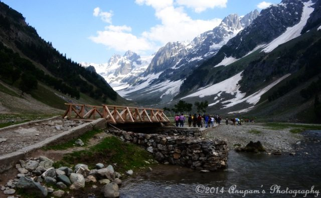 Wooden Bridge over a stream from Thajiwas Glacier