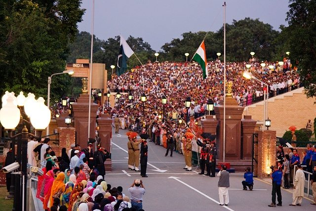 by Kamran Ali - Wagah Border. Lahore Pakistan. Licensed under Creative Commons Attribution-Share Alike 3.0 via Wikimedia Commons -