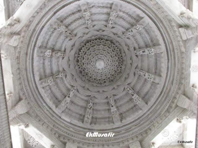 A carving in the ceiling.