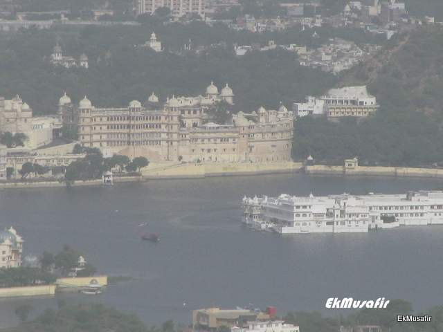 City Palace and Lake Palace as seen from Sajjan Garh.