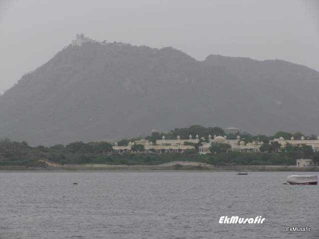 Sajjan Garh towering over Udaipur and Lake Pichola.