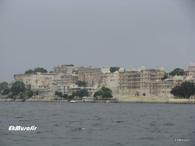 The City Palace of Udaipur viewed from the Lake.
