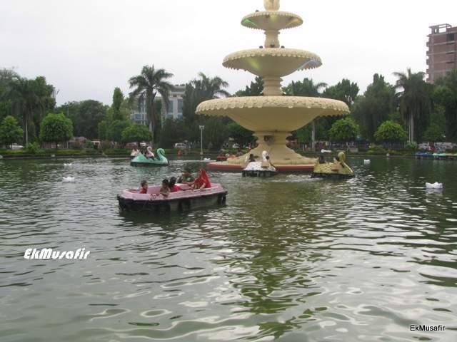 Paddle boating at Sukhadiya Circle.