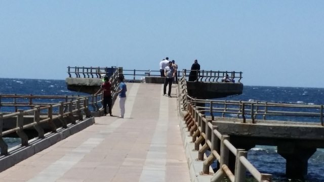 This is the pedestrian jetty where people come to stroll, fish, and look