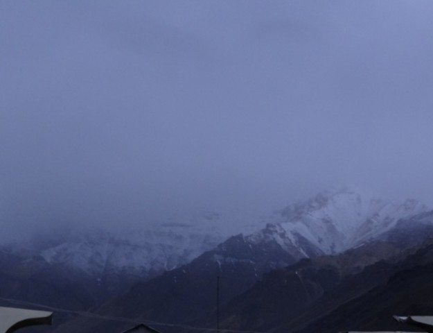 Snowfall in the higher reaches at Sarchu