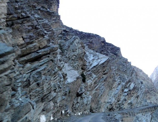 Stratified rocks exposed on the NH 22