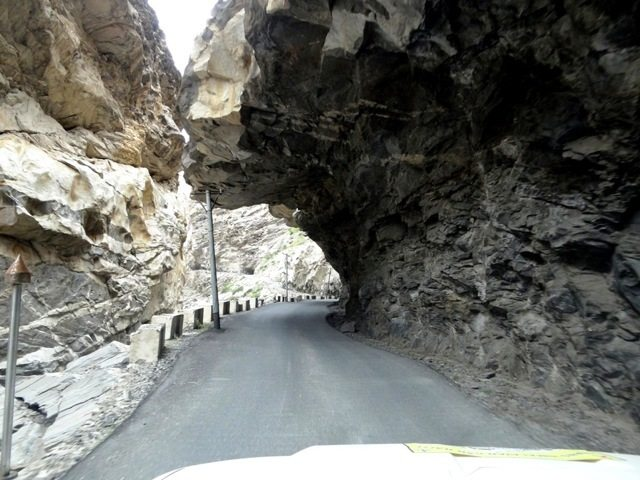 Support for the rocky overhang over the roads