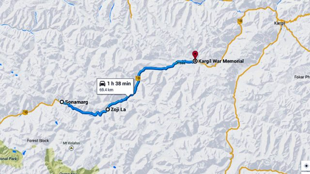 The Route Map to Kargil War Memorial at Drass
