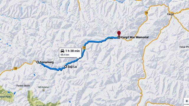 The Route Map to Kargil War Memorial at Drass