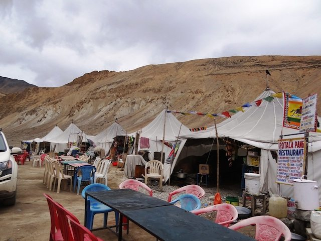 The dhabas at Pang also offering  tented dorm-type accommodation