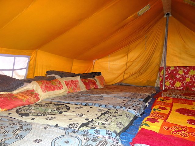 The tented camp dorm-beds in Pang