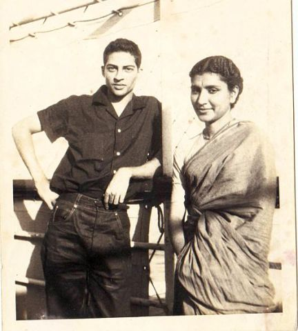 Uma Sethi, right, with one of our shipmates, on the ship Lloyd Trevino. 1958.