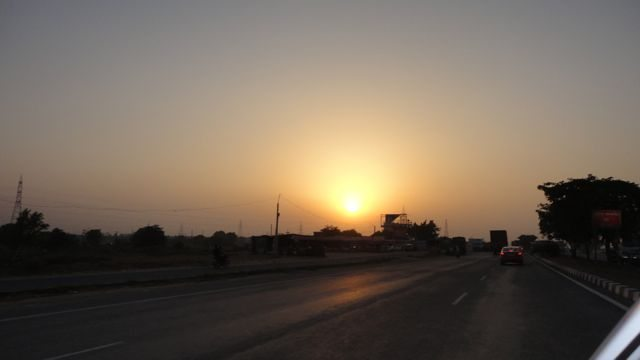 Sun set on National Highway 08 at Dharuhera