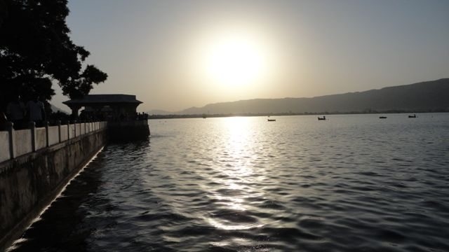 The sun-set at the Anasagar Lake