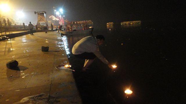 Floating lamps at River Narmada