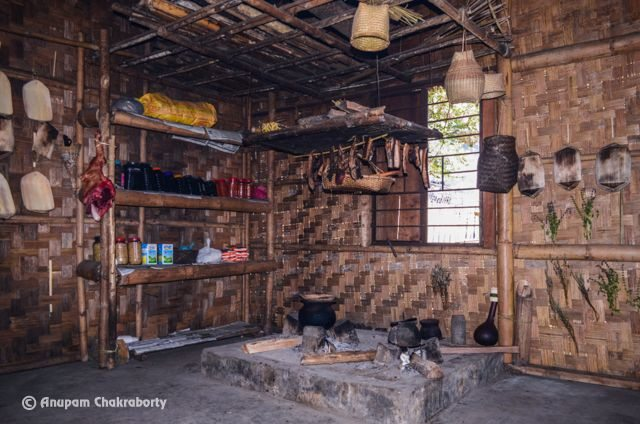 Traditional Naga Kitchen inside the Morung