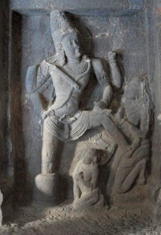 Siva emerging from lingam rescues Markandey from Yama