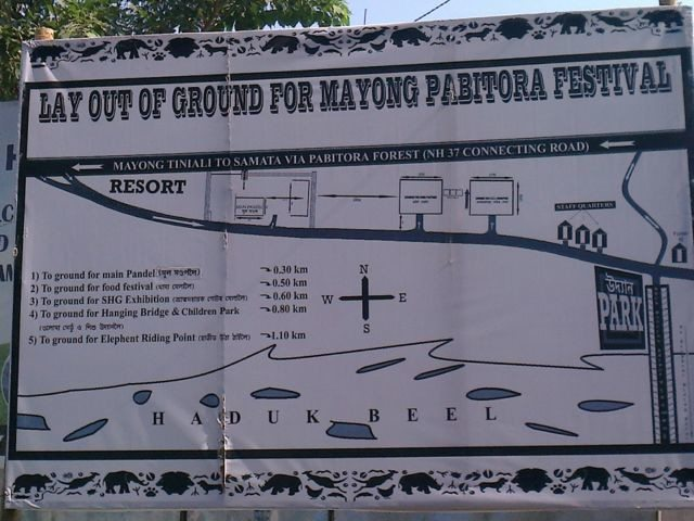 The map of the ongoing Mayong Pobitora festival
