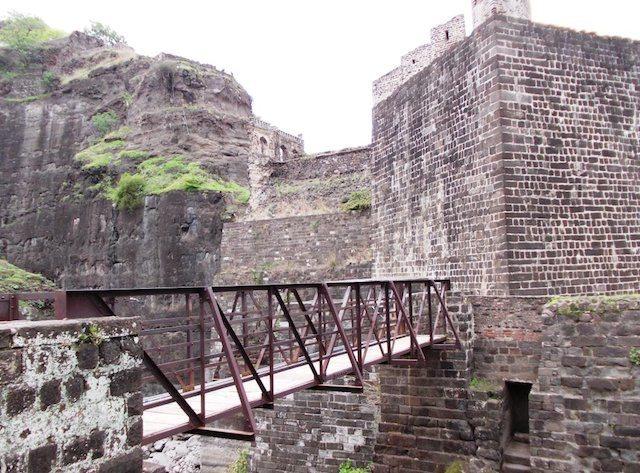 40 feet deep wet moat with Iron Bridge