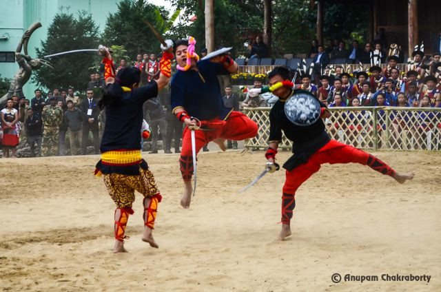 Manipuri girl showing her skills with two swords