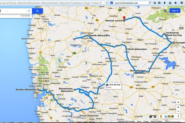 The route we followed in this Yatra