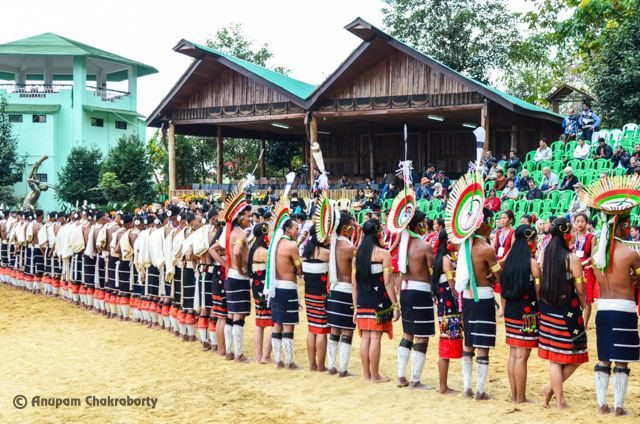 Naga Tribes in traditional Dress positioned to welcome the Chief Guest of the day
