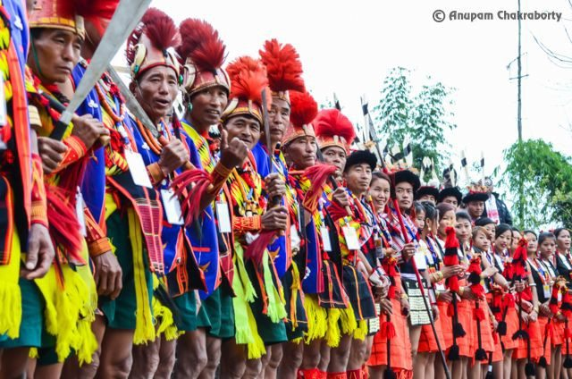 Naga Tribes welcoming the Chief Guest with their war cries