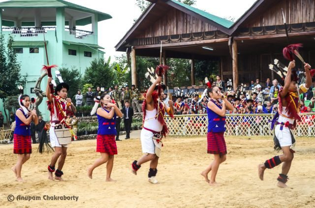 Naga Tribes dancing with their spear