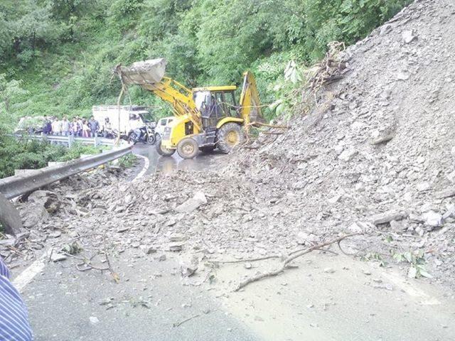 Landslide,  5 KMs Before Mussorie
