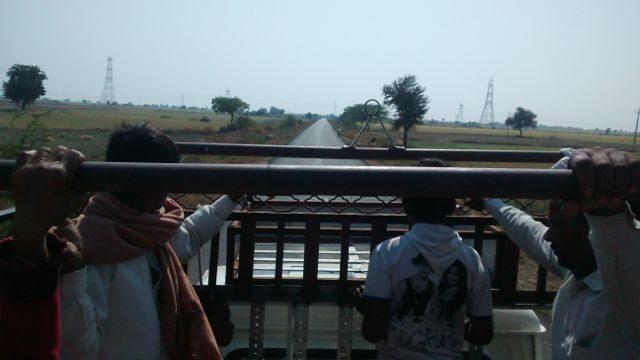 In the trolley van.