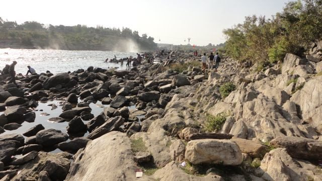 Rocky bed of the River Narmada