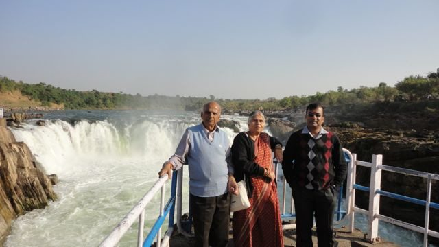 With family at Dhuandhar Falls