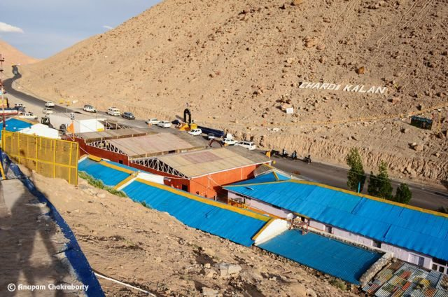 Chardi Kalan Baba Nanak Di' is engraved on the opposite hill of Gurudwara, road to Leh goes upward