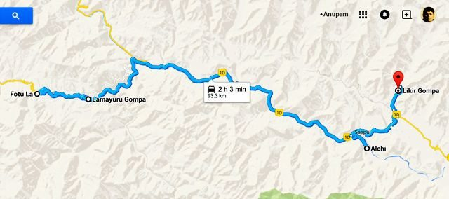 The Route Map from Fotu La to Likir Gompa