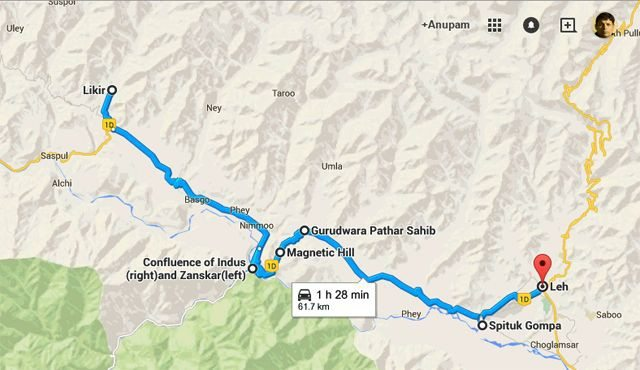 The route map from Likir to Leh