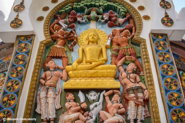 """Lord Buddha """"defeating the devils"""" while meditating"""