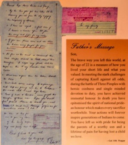 The Letter of Capt Vijayant and his father's message are kept in a single frame