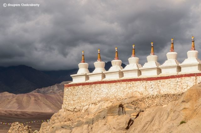 White Chortens in the east of Shey Palace